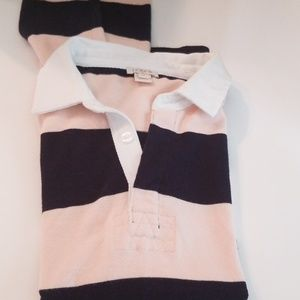 J.Crew rugby  light pink and navy striped